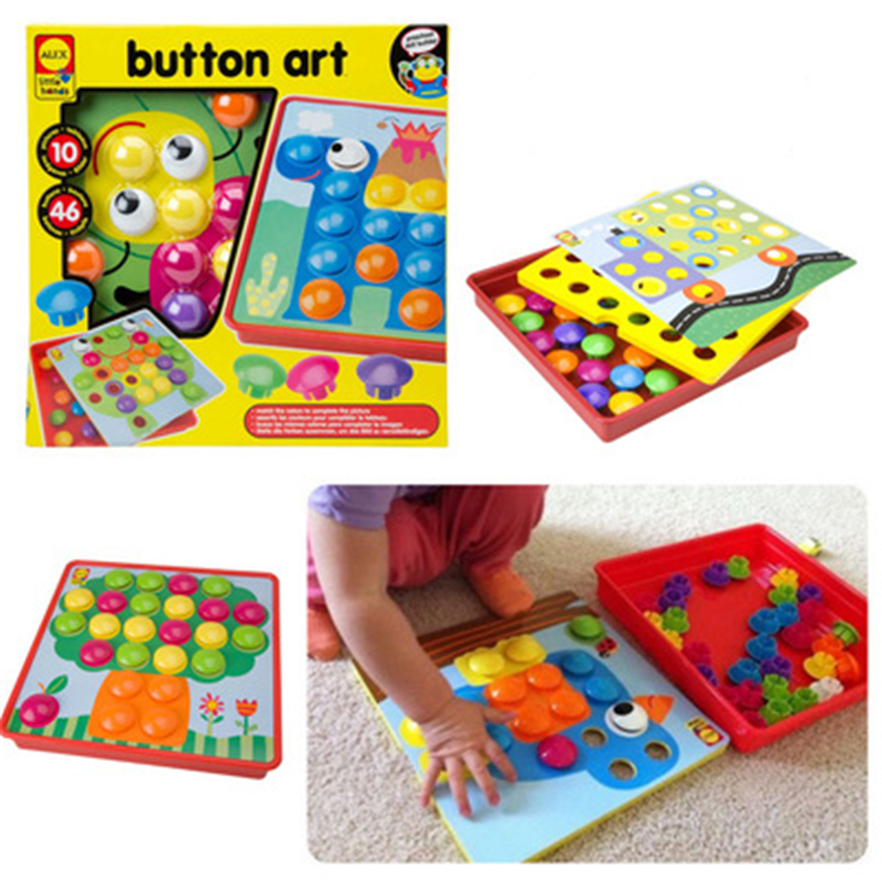 Infants and young children to enlighten the toy button painting art puzzle nail mushroom nail parent-child interaction