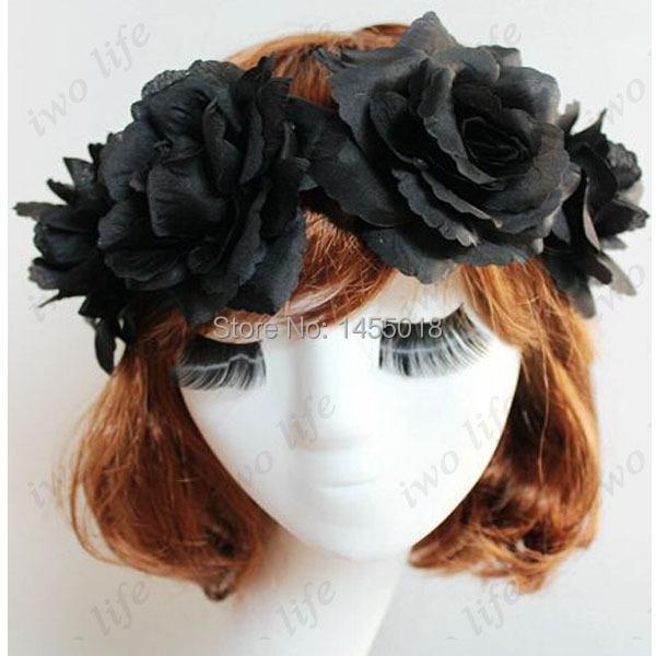 Party queen headband silk floral rose black flower headband design elastic headbands hair accessories(China (Mainland))