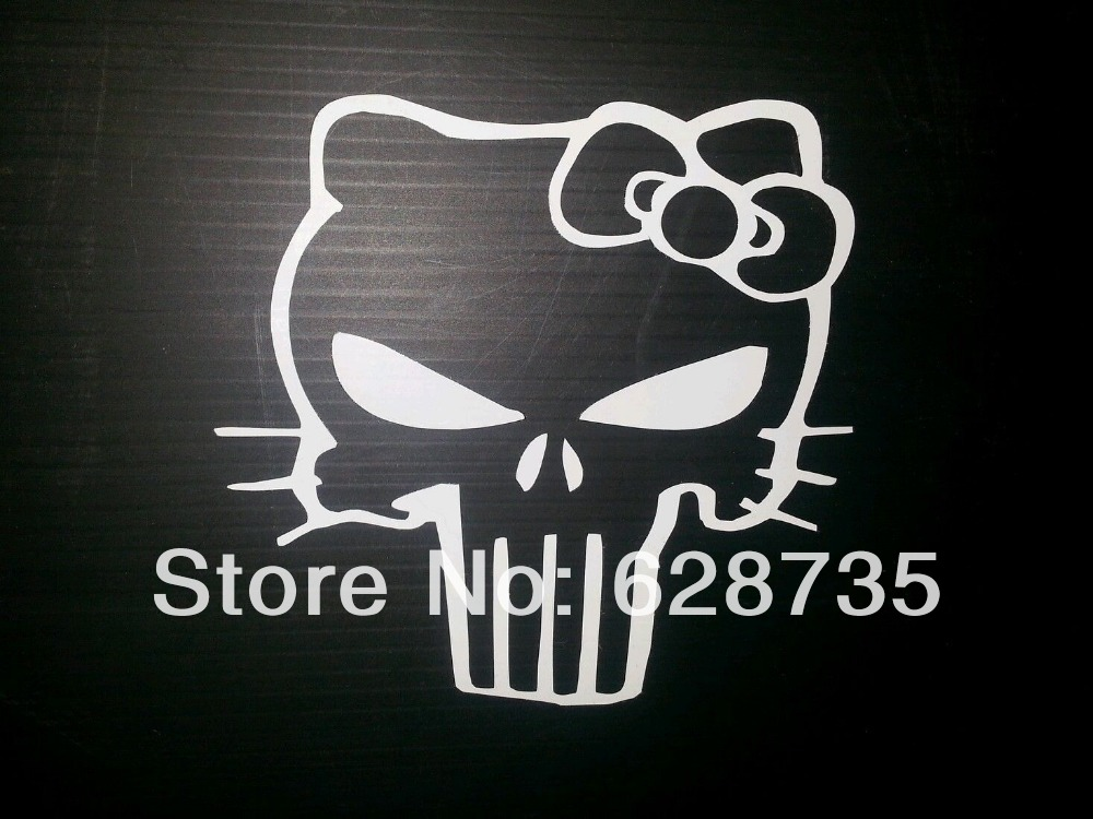 Free shipping (100pieces/lot) Creative Cool Hello Kitty PUNISHER SKULL Vinyl car stickers,s2031h(China (Mainland))