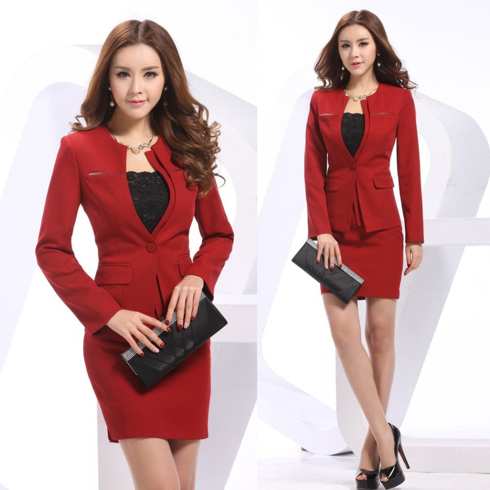 new 2014 spring formal red blazers women skirt suits
