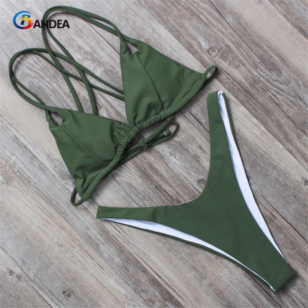 BANDEA women bikini set summer 2017 solid swimsuit halter top swimwear padding bikini brazilian swimwear bathing suit HA011