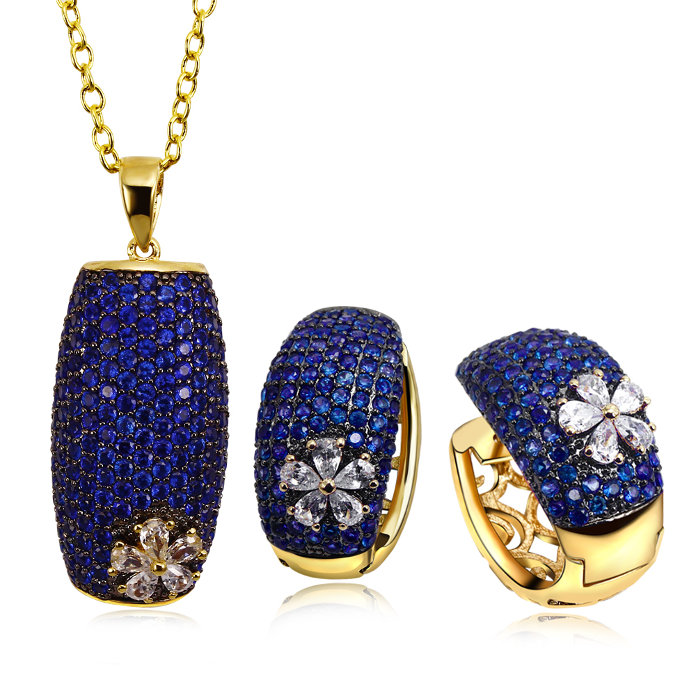 Women Accessories Summer Square Elegant Wedding Bridal Jewelry Set 18k Gold Plated Siam Blue Cubic Zircon Necklace &Earrings - ANGEL in Fashion store