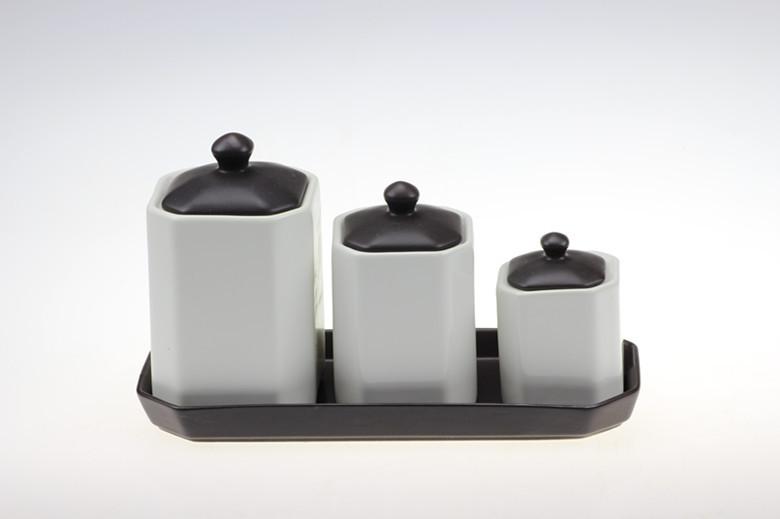 Simple moderne noir mat plateau en c ramique noir et blanc combinaison pot pices cuisine for Ceramic cuisine moderne