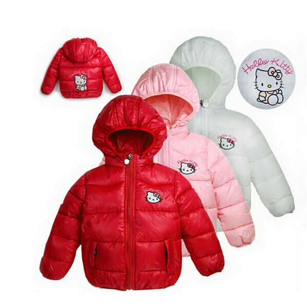 Retail New 2015 girls winter Hello Kitty Jacket Children Casual Hooded Vest Kids Windbreaker Coats Baby Warm Clothes 4 Color(China (Mainland))