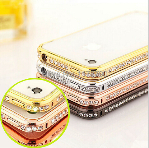 Luxury Crystal Rhinestone Diamond Bling Aluminum Metal Bumper Case Cover Apple iphone 6 6G i6 4.7 Inch Plus 5.5 Gold - New Best Global Trading Co.,Ltd store