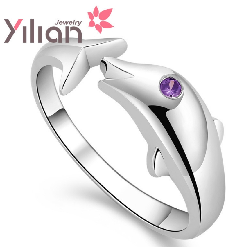 925 stamp silver 100% Genuine Sterling Pure Silver Dolphin Women Ring.TOP quality.Christmas gift - Life in Color Co.,Ltd store