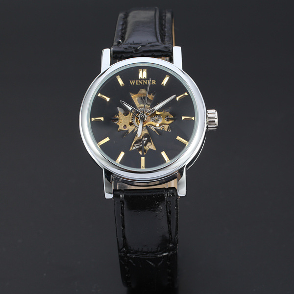 WINNER three pin automatic hollow nail simple personality maple leaf scale leisure men mechanical watches beltD116(China (Mainland))