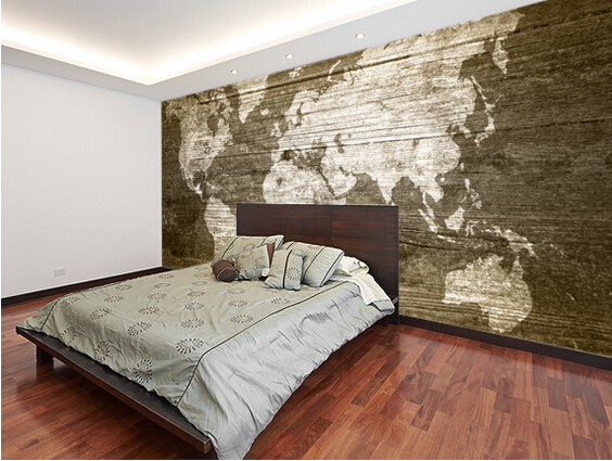 Custom texture wallpaper world map on wood 3d wallpaper for Home wallpaper wood