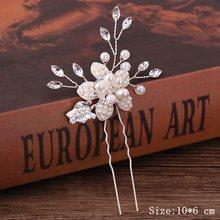 Perle strass épingles à cheveux de mariage accessoires de cheveux argent perle épingles à cheveux fleur mariée épingles à cheveux ornements de cheveux bâton de cheveux(China)