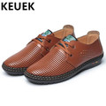 New Arrival Men Casual Sandals Split Leather Cut Outs Breathable Dress shoes Summer Lace Up Flats