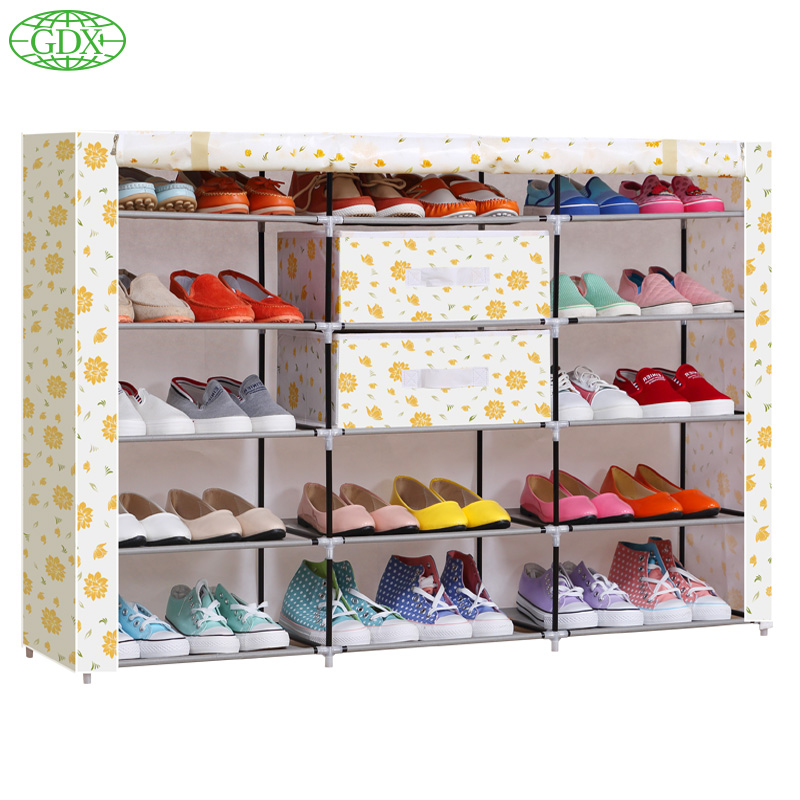 GDX 1pc Brand New 3 Row 5 Tiers 15 Cubes 30 Pair Large Capacity Simple DIY Shoe Cabinet Boot Closet Rack Footwear Shelf(China (Mainland))