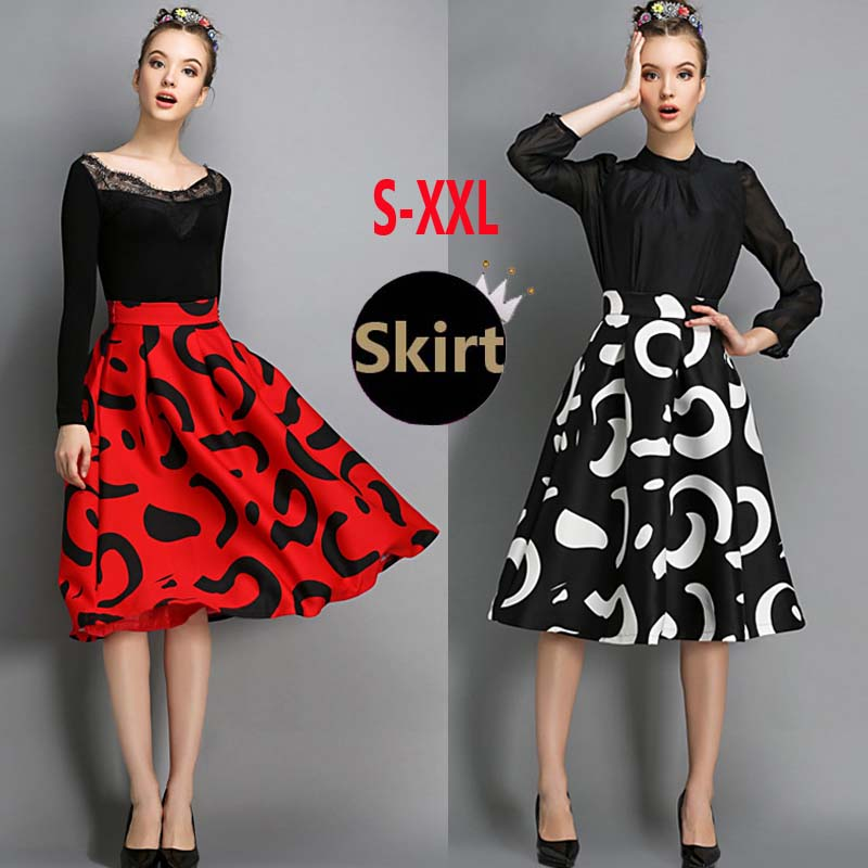 2015 Spring Fashion Womens Vintage Retro Prints Hepburn Contrast Color High Waist A-Line Knee-Length Midi Skirts Ball Gown - Lace Girl , Good Quality, store
