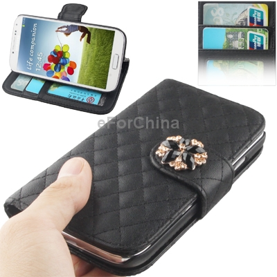 Choice for Most People, Black Plaid Texture Leather Case with Credit Card Slots and Holder for Samsung Galaxy S IV / i9500(China (Mainland))