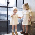 2016 New Girls Sweater Dress Toddler Kids Long Sleeve Sweater With Hat Fashion Winter Children Knit