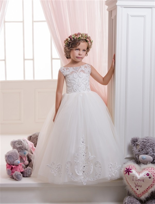 Gorgeous Lovely Flower Girl Dresses Sleeveless Lace Appliques Beading Little Princess Pageant Tulle Ball Gowns 2-12 Year Custom<br><br>Aliexpress