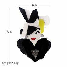 SexeMara Nuovo Esagera Acrilico Ragazza Spilla Per Le Donne Ragazze Clown Principessa Spilli Risvolto Distintivi e Simboli Sacchetto Decorazioni Del Partito Dei Monili(China)