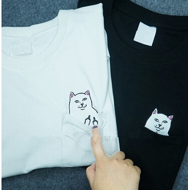 2015 New Hong Kong fashion pocket Harajuku wild cat lovers big yards women wear short-sleeved T-shirt Casual Funny SHIRT(China (Mainland))