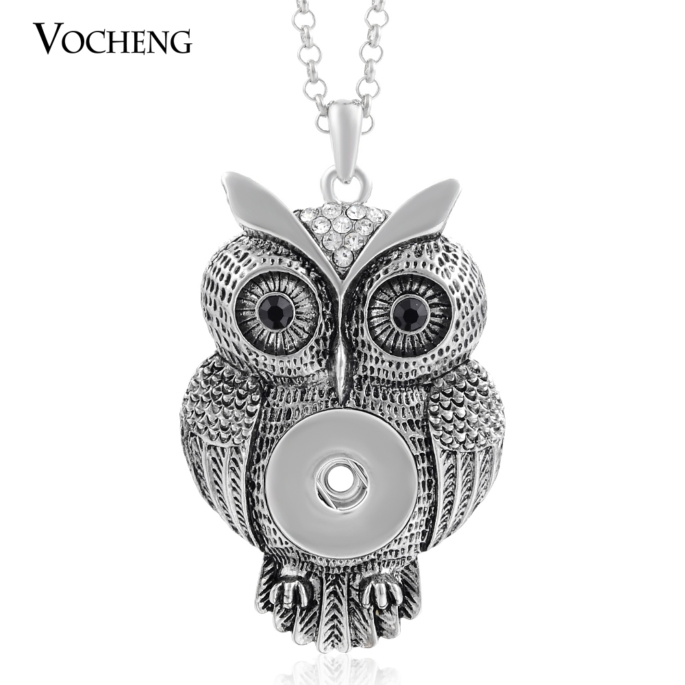 10pcs/lot Vocheng Interchangeable 18mm Popper Button Jewelry Vintage Owl Pendant Necklace NN-213*10 Free Shipping(China (Mainland))