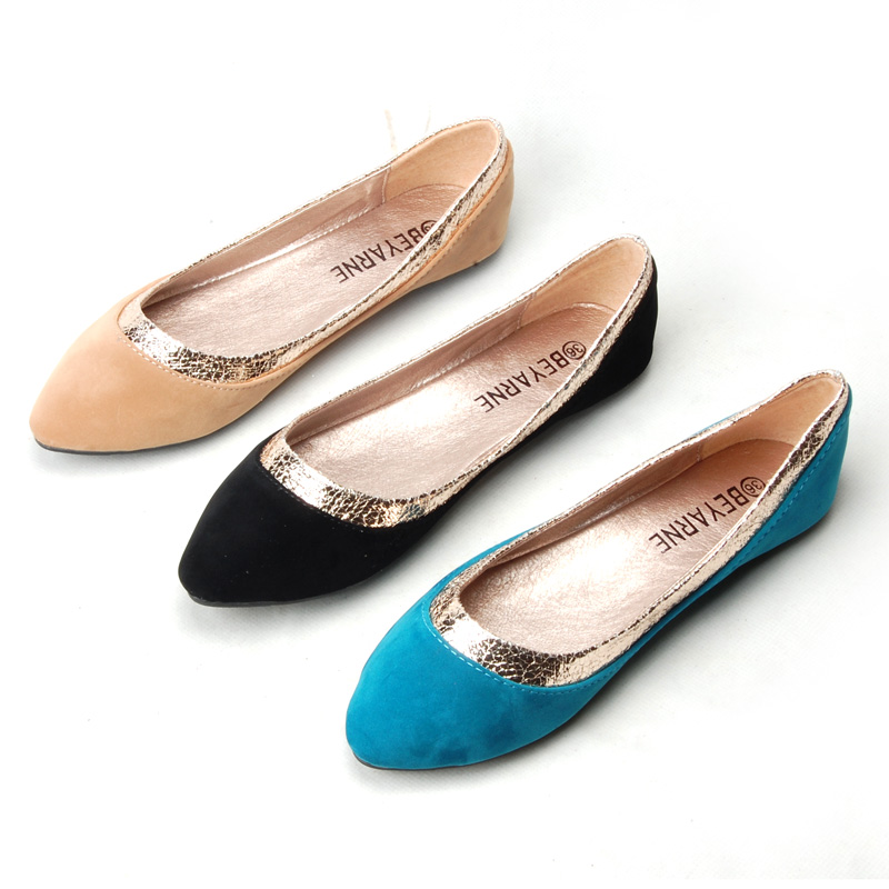 Spring women flats shallow mouth suede shoes flat heel single fashion plus size - miyake mei's store