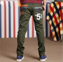 Retail boy new trousers, 2015 spring autumn fashion cuhk child joker leisure trousers teenage boys green full length pants(China (Mainland))