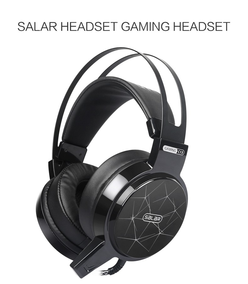 SALAR C13 Wired Gaming Headset Deep Bass Game Earphone Computer headphones with microphone led light headphones PA273