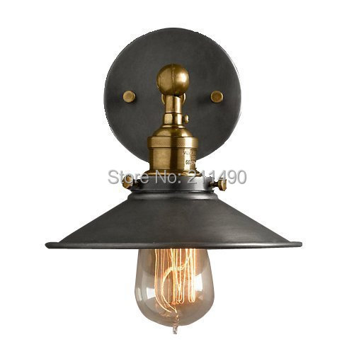 Rustic Metal Shade Wall Lamp Max 60W With 1 Light Painted Finish-in Wall Lamps from Lights ...
