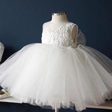 2016 new white summer dress for girls 0-2years sleeveless princess baby girl clothes children wedding dresses