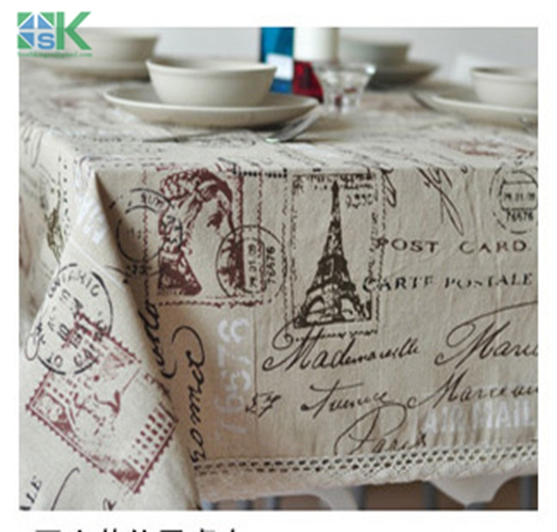 2016 New Arrival Eiffel Tower French linen tablecloths eco-friendly tea table cloth drape universal custom table cloth , freee s(China (Mainland))