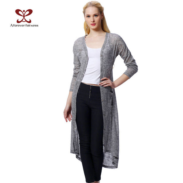 2016 весной мода женщин вязаный кардиган с длинными рукавами асимметрии свободную ...