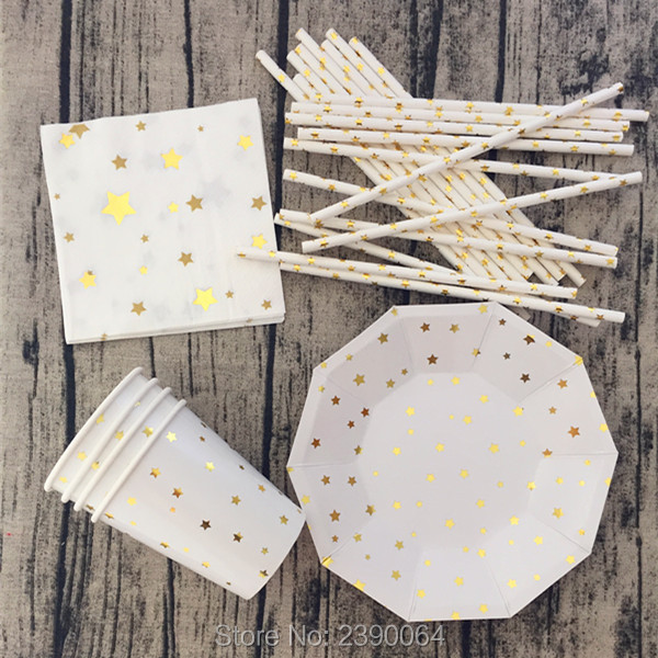 Free Shipping 16sets Gold Foil Star Disposable Tableware Party Paper Plates Cups Baby Shower Favor Paper Napkins Drinking Straws(China (Mainland))