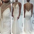 High Neck White Sexy Mermaid Dress Robe De Soiree Longue 2016 Pearls Bridal Evening Dresses Formal