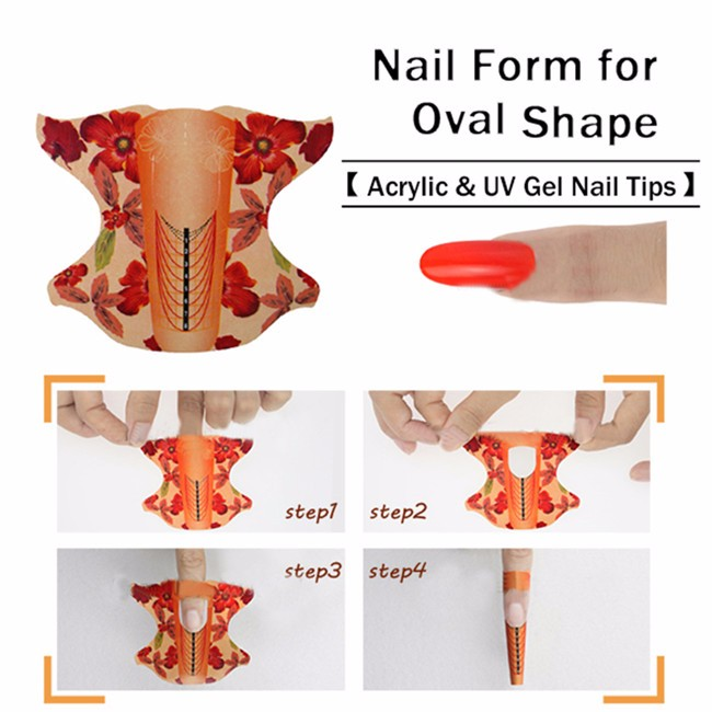 100Pcs Oval Shape Adhesive Nail Guide Form For Acrylic UV Gel Tip Nails Extension Sticker Nail Tools Gel Nail Polish Curl Tips