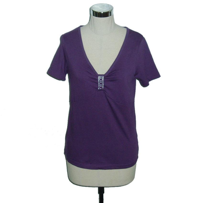 Plus Size Clothing Women Cotton T Shirt V Neck Top Short