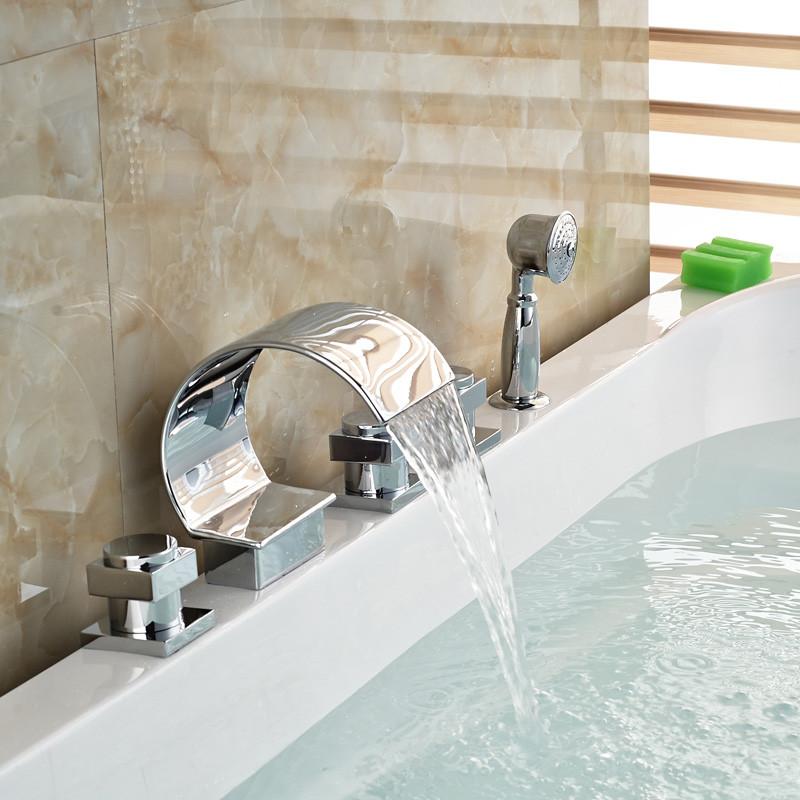 Купить Хром Латунь 5 шт. Ванная Комната Ванна и Душ Смесители Палуба Крепление Водопад Носик Ванна Смеситель