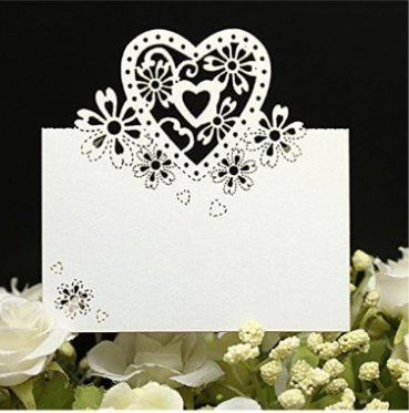 50pcs Love Heart Laser Cut Wedding Party Table Wine Food Guest Name Place Cards Favor Decoration