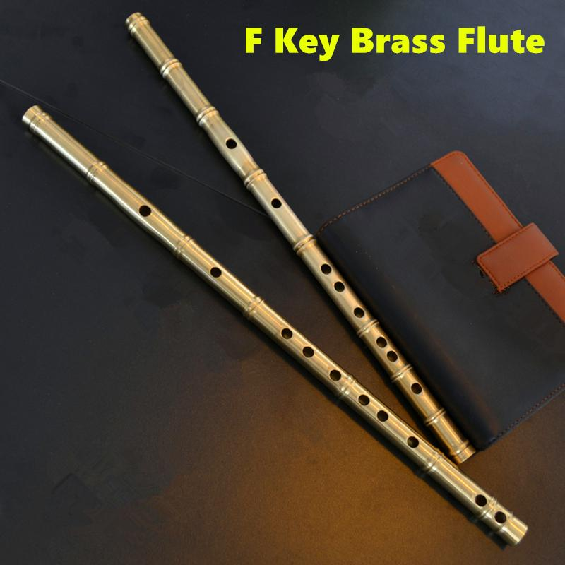 Brass Metal Flute Dizi F Key Metal Flauta Thicken Brass Chinese Flute Professional Musical Instrument Flauta Self-defense Weapon