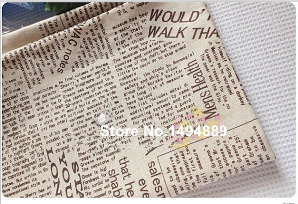 1 meter coffee color English newspapers cotton linen fabric for table cloth, curtain, handmade Diy CR-267(China (Mainland))