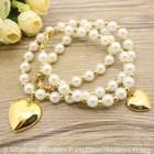 Stainless Steel Pearl  Vintage Jewelry Sets Imitation Pearl Silver Color Bracelet +Necklace set Supernova Sales