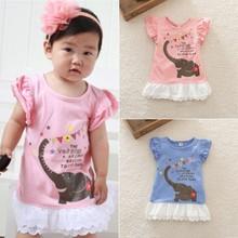 New Cute Baby Girls Elephant Pattern Ruffle Bay Dresses Baby Girls Dress 0-3Y(China (Mainland))