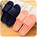 Sales household slippers men s and women s soft bottom hollow out anti skid bathroom slippers