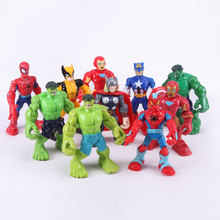 New 2015 10pcs/lot The Avengers PVC Model Figure Toys Spider man Hulk Thor Superman Captain American Q Version Action Figures