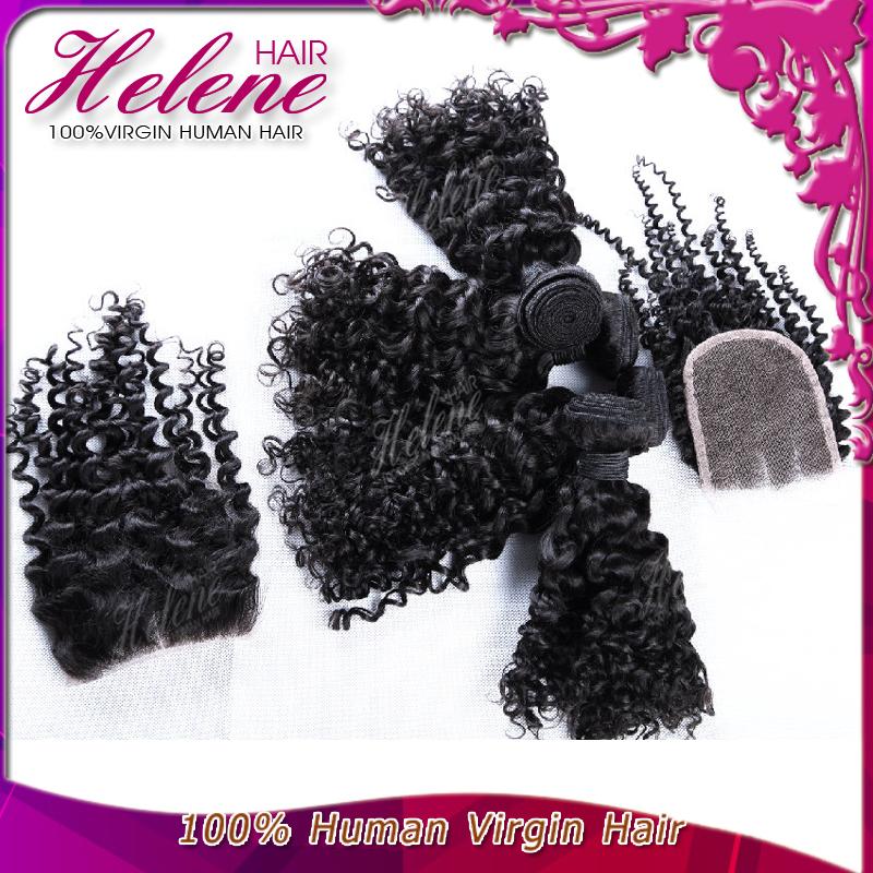 Unprocessed 6A Brazilian Virgin Hair Kinky Curly Hair Bundles With Lace Closure 3 Pcs Human Hair Weave Brazilian Hair Extension(China (Mainland))