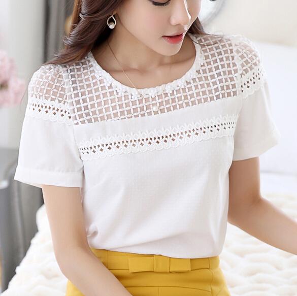Plus Size Ladies Summer Style White Chiffon Lace Blouse Organza Hollow Out Crochet Lace Shirts Women Tops Blusas Femininas 2015(China (Mainland))
