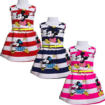 Elegant Baby Girls Princess Party Mickey Stripe Sleeveless Summer Dress 2-7Y(China (Mainland))