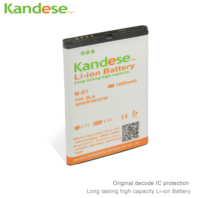 10 pcs/lots Kandese High Quaity 1950mAh Lithium-ion Battery Replacement for phone BLACKBERRY 9000/9700/ 9780(China (Mainland))