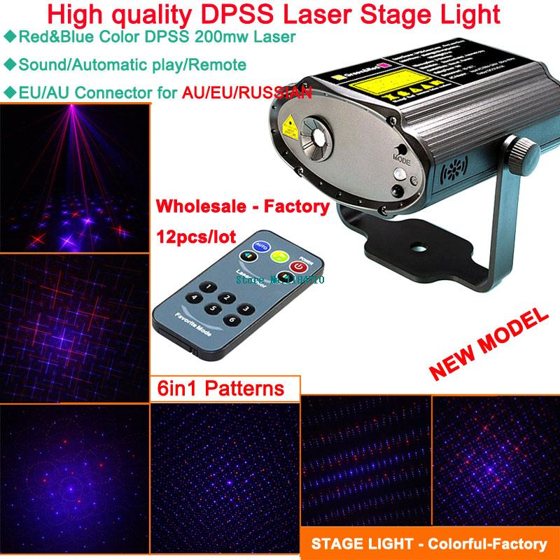 Фотография wholesale new 12 patterns Red DJ blue laser Projector remote dance Light Disco bar Party Xmas effect Stage Lights Show B44-hb12