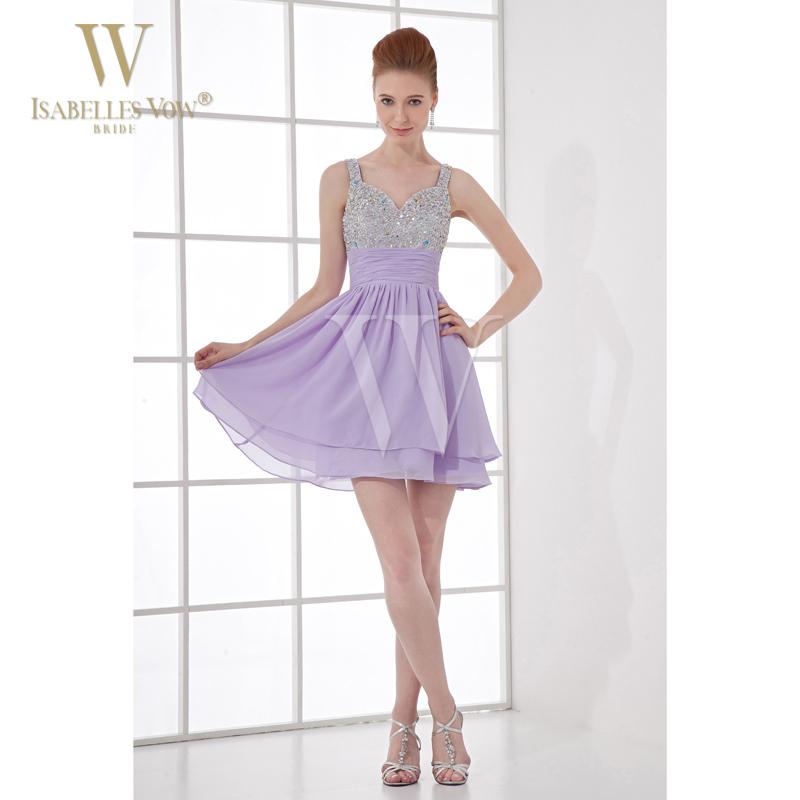 Summer style cocktail dresses light purple short mini for Purple summer dresses for weddings