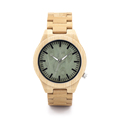 2016 All Wooden Watches Mens Wood Strap Watch Green Dial Japan 2035 Movement Quartz Men Wood