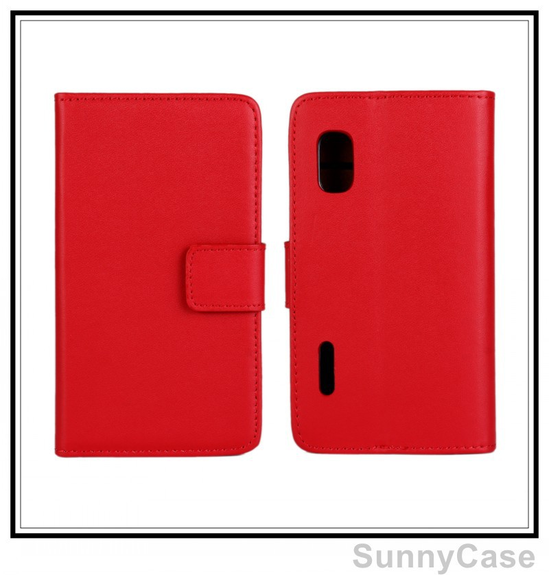 Stand Wallet Genuine Leather Case Cover LG Optimus L5 E610 E612 - Sunny Cellphone store