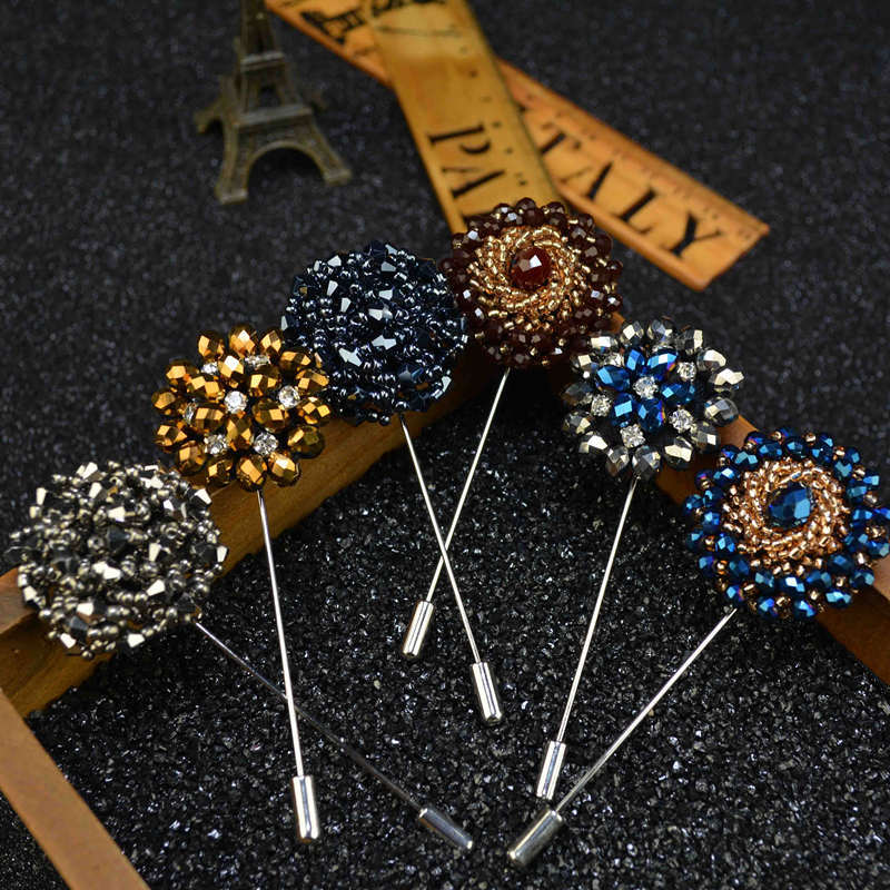 9 Colors New Fashion Lapel Pins Beaded Floral Men Lapel Pin Crystal Men rhinestone Brooch for Suits Handmade Stick Brooch Pins(China (Mainland))